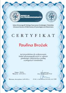 Ceryfikat Sekcja Ultrasonografii